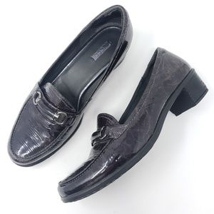 Ecco Heeled Loafers Patent Leather Charcoal Grey